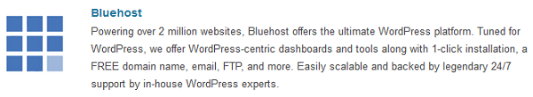 BlueHost recommended by wordpress