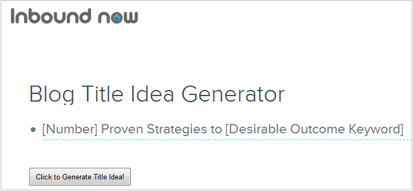 Inbound Now Blog Title Idea Generator