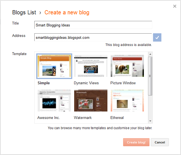Create a new blog for free on Blogger
