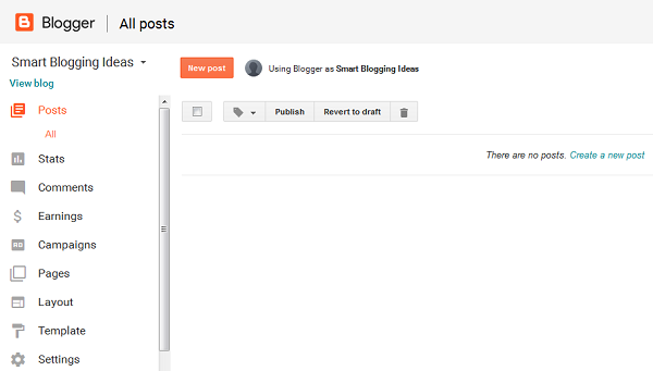 Create a new post on Blogger
