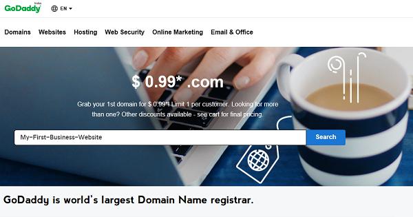GoDaddy 0.99 Domain Name