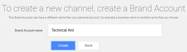Create a new Brand YouTube Channel