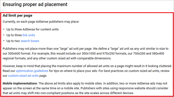 Google Adsense Ad placement policy - old