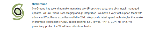 SiteGround Web Hosting Recommended by WordPress