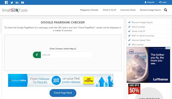 Google PageRank Checker SmallSEOTools